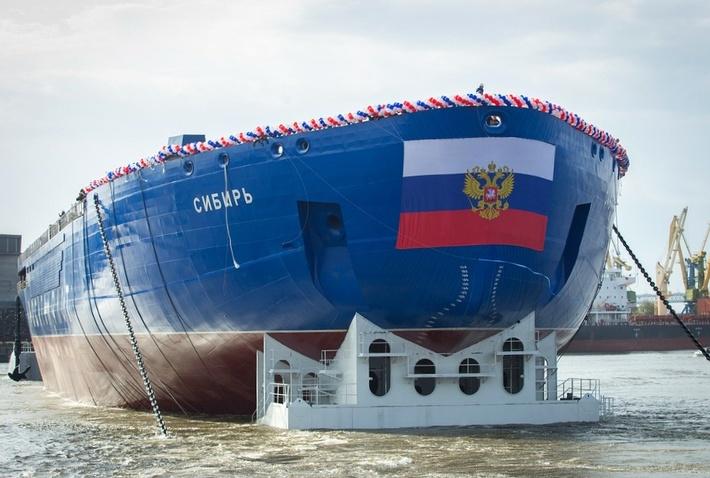 Спуск на воду атомного ледокола «Сибирь»