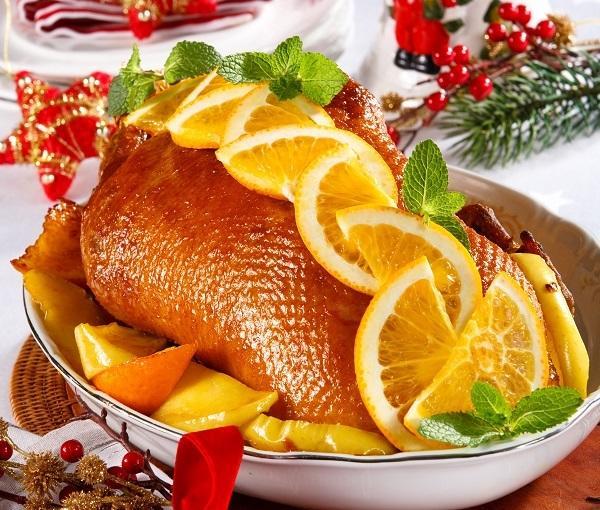Утка, запеченная с апельсинами
