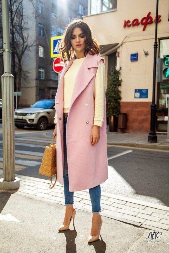 С чем носить длинный жилет
