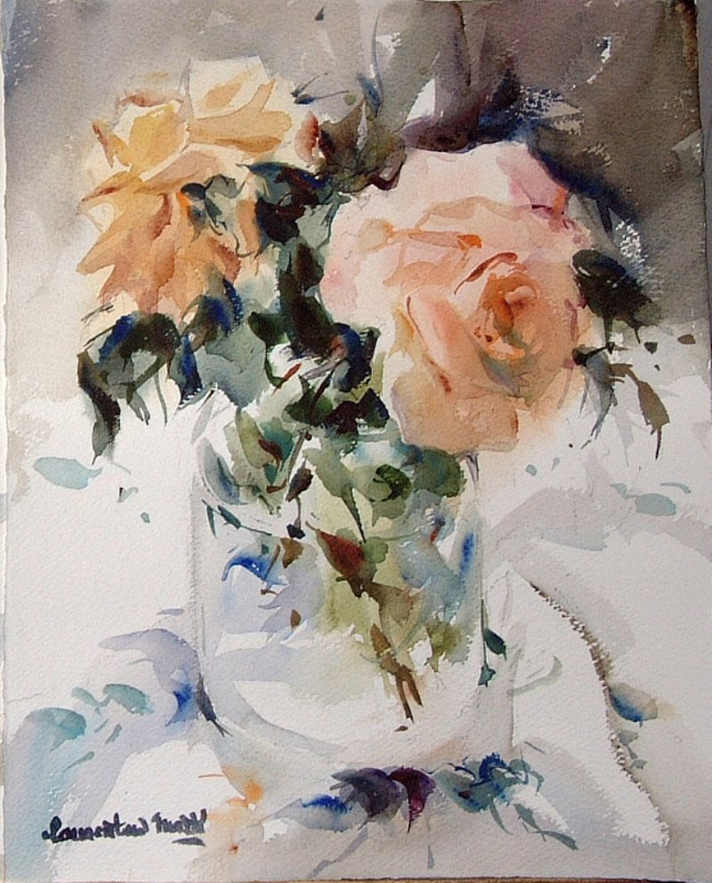 """""""О роза, испанская гостья ..."""" - роскошные цветы одного из лучших акварелистов Испании Марти Лаурентино"""
