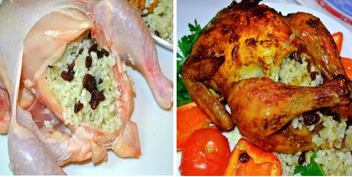 Цыпленок, фаршированный рисом и изюмом в духовке