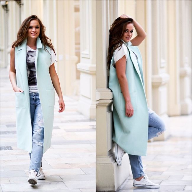 С чем носить удлиненный жилет? 100 стильных фото-образов на осень 2017