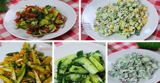 5 вариантов приготовления легких салатов и закусок из свежих огурцов