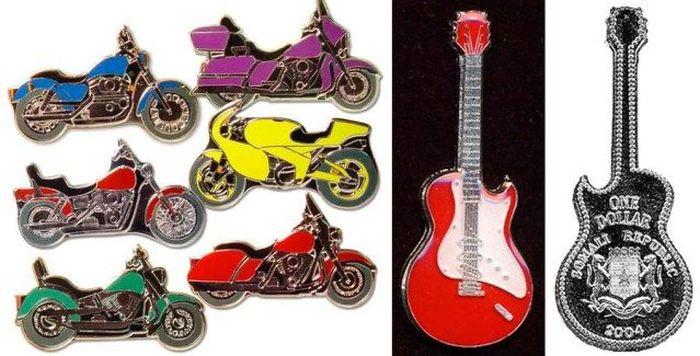 Монеты в форме гитар и мотоциклов./Фото: cdn.trinixy.ru