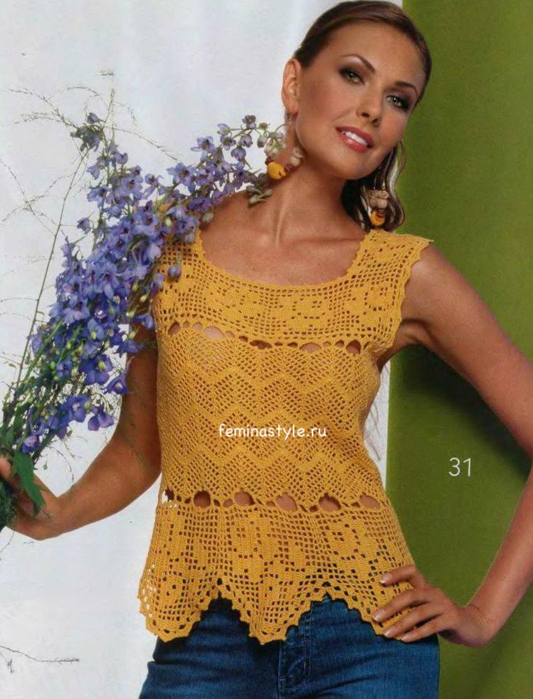 Филейное вязание желтой блузы