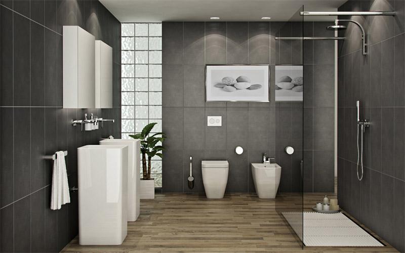 Ванная комната в серых и черных тонах