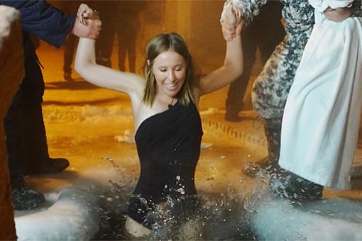 Ксения Собчак искупалась в проруби при -40 градусах