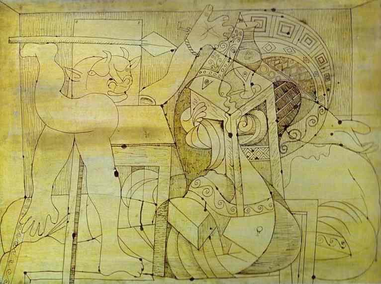Пабло Пикассо. Минотавр с копьём и заложницы. 1934 год
