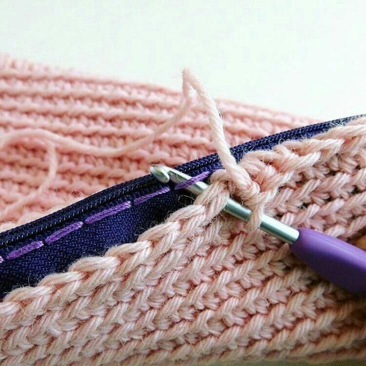 Способ вшить в вязание застёжку молнию