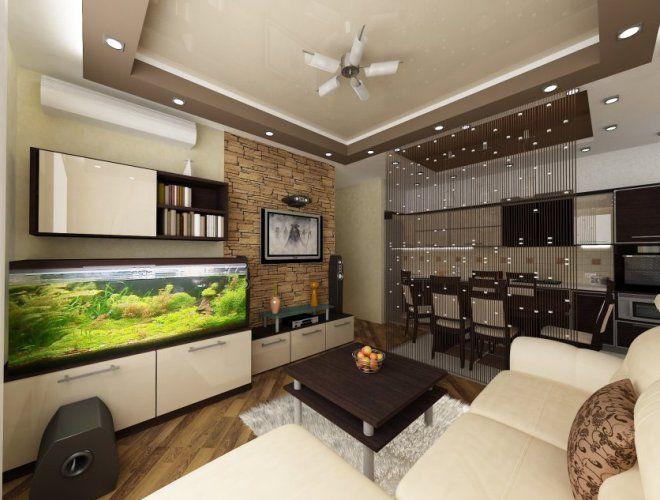 разноуровневый потолок для зонирования кухни гостиной