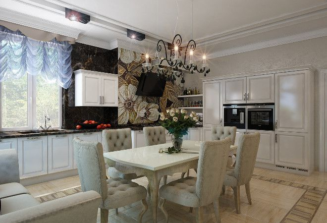 кухня совмещенная с гостиной в стиле арт-деко