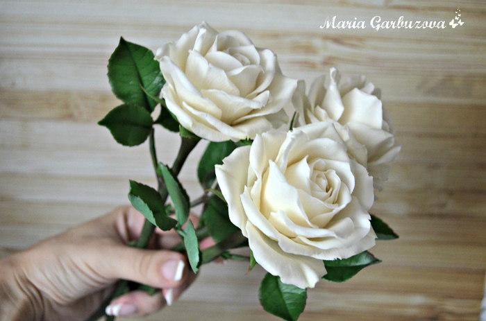 Розы ручной работы из холодного фарфора полимерная глина, ручная работа, холодный фарфор, длиннопост