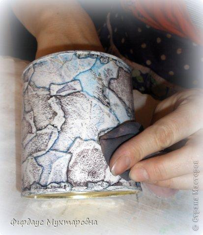Декор предметов, Мастер-класс Декупаж: Каменные баночки. Имитация. Банки стеклянные, Бумага журнальная. Фото 12