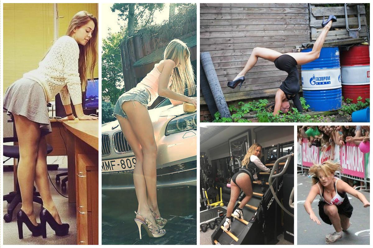 Женщины - это сила, а на каблуках - вдвойне сильнее (22 фото + 6 видео)
