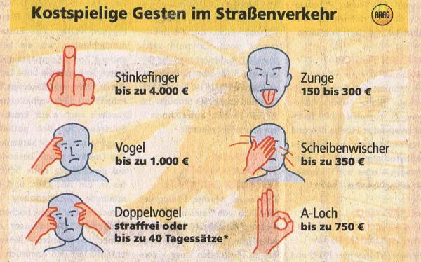 Штрафы для автомобилистов в Германии за оскорбляющие слова или жесты - нам ли жаловаться!