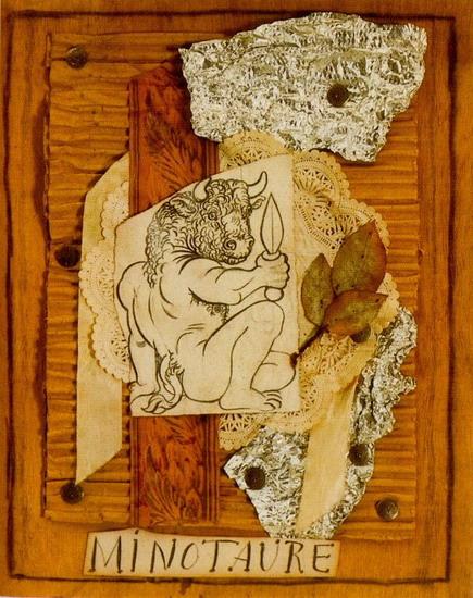 Пабло Пикассо. Сидящий минотавр с кинжалом (макет для покрывала `Минотавр`). 1933 год