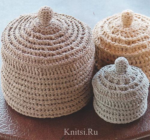 Вязаные шкатулки с крышкой