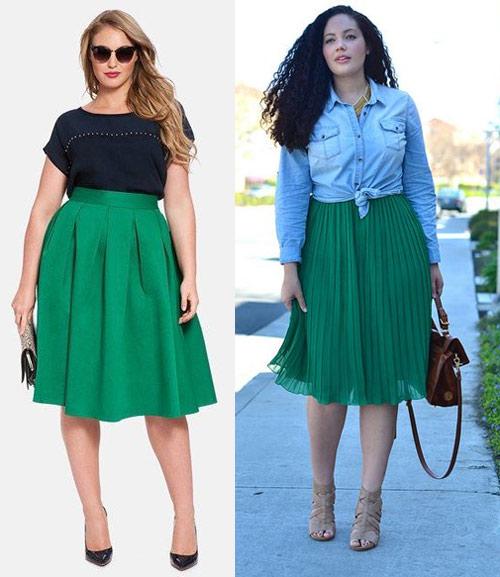 Зеленые юбки на девушках плюс