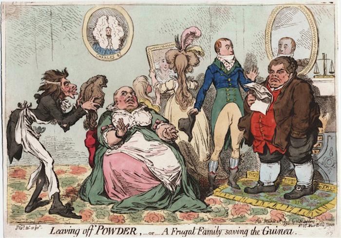Отказ от пудры, или Бережливое семейство экономит гинею. Карикатура Джеймса Гилрея.  1795 год