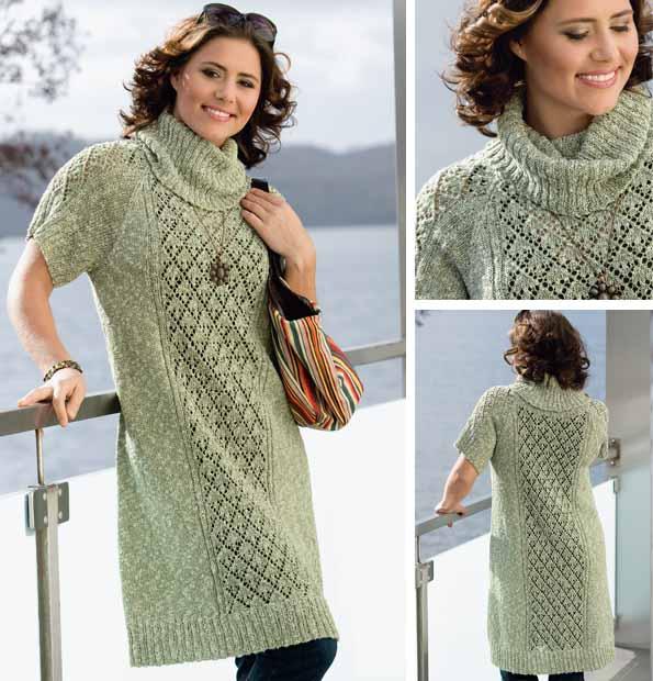 Платье с ажурной вставкой спицами