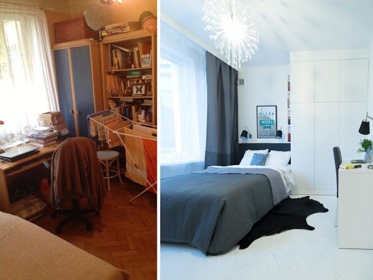 интерьер маленькой спальни идея ремонта минимализм до и после