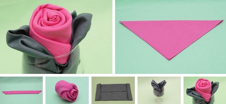 как сложить розу из салфетки