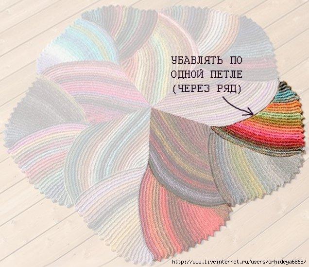 Многоцветный коврик спицами