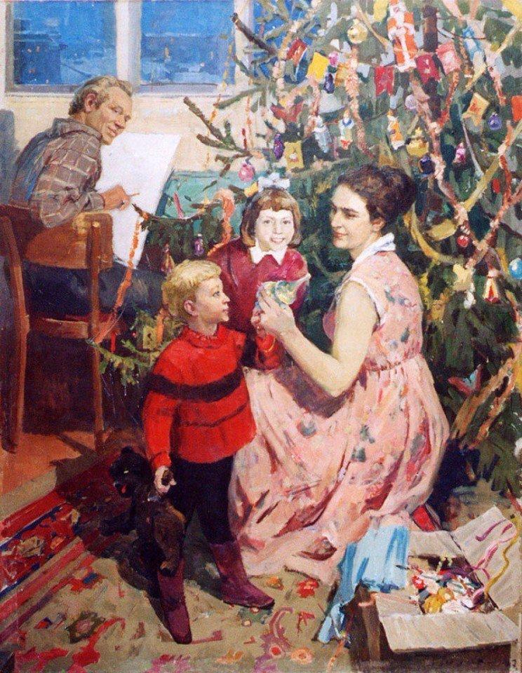 Новогодний антураж в картинах советских и российских художников