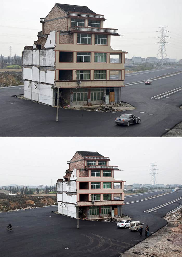 China's Government Paved A Highway Around These Stubborn Homeowners. The Residents Eventually Moved Out But The House Had Become A Symbol Of Resistance Against Developers