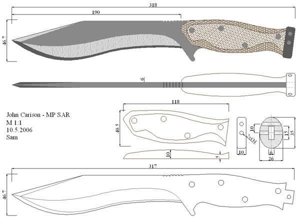 Как сделать нож по чертежу