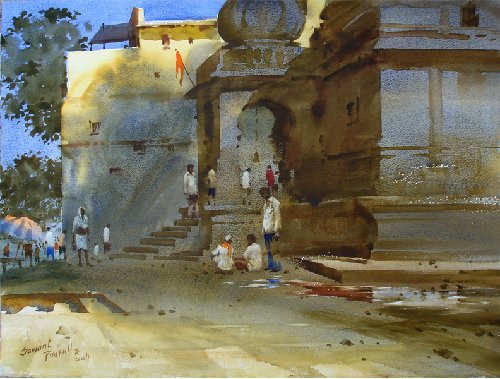 Фото Indian Watercolor Painting.