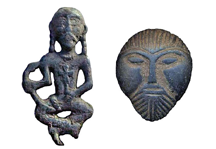 Фигурка найденная в Черниговской области Украины и матрица с изображением головы с монголоидными чертами лица, найденная в районе Кривого Рога, Украина.