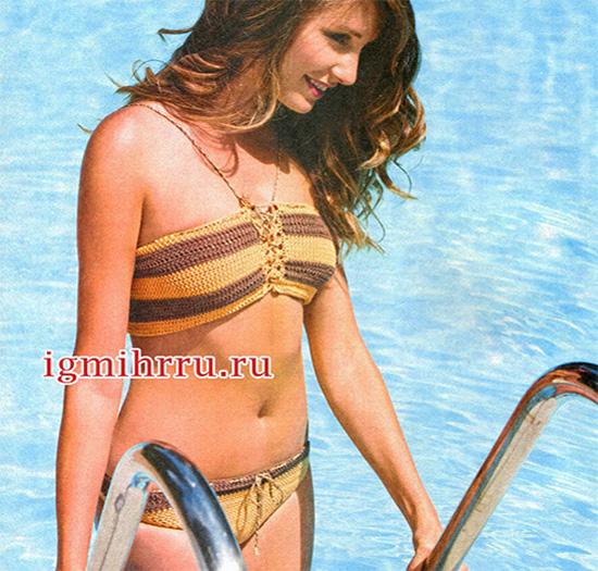 Золотисто-коричневый купальник