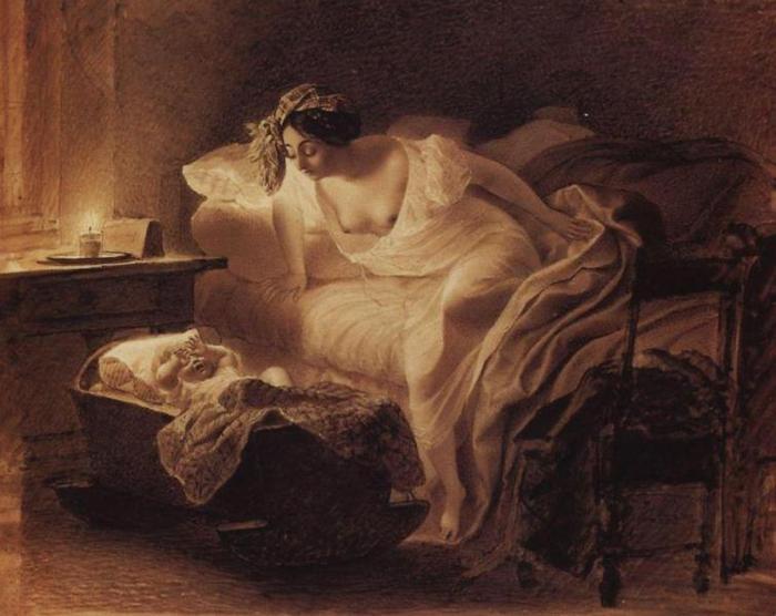 Мать, просыпающаяся от плача ребенка, 1831 (700x556, 48Kb)