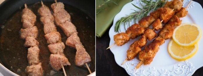 Хрустящие и ароматные панированные шашлычки из курицы