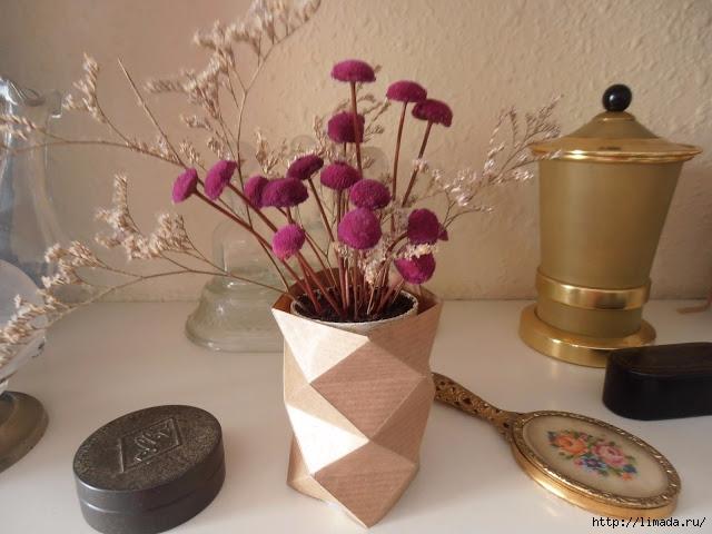САМОДЕЛКИ. Стильная ваза - оригами из крафт - бумаги