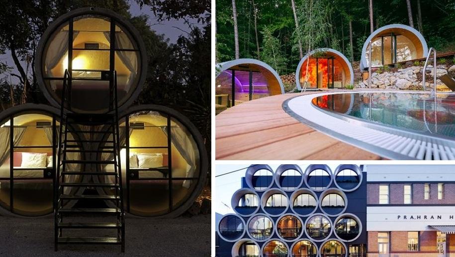 Интересная идея: оригинальные постройки из бетонных труб