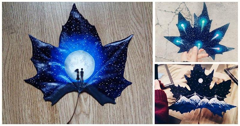 Влюблённая пара художников превращает осенние листья в произведения искусства