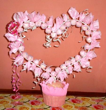 Сердце из конфет своими руками пошаговое фото на свадьбу