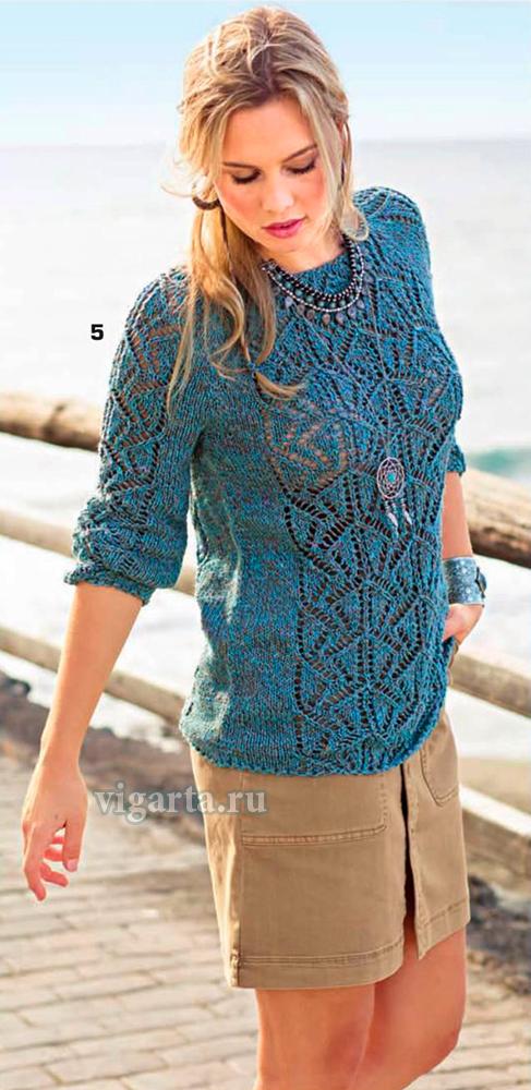 Пуловер с полосами ажурного узора