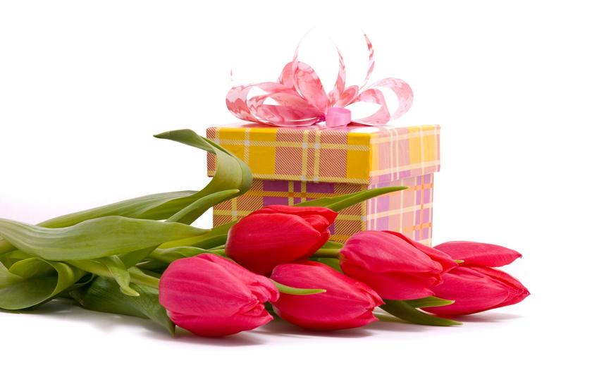 тюльпаны, подарок, коробка