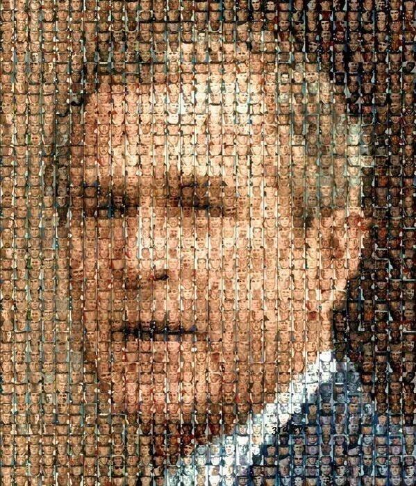 Портрет Джорджа Буша из фотографий погибших в Ираке солдат. история, люди, мир, фото