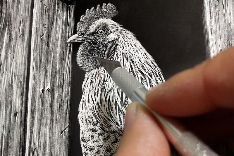 Гипер реалистичные портреты животных в технике скретчборд