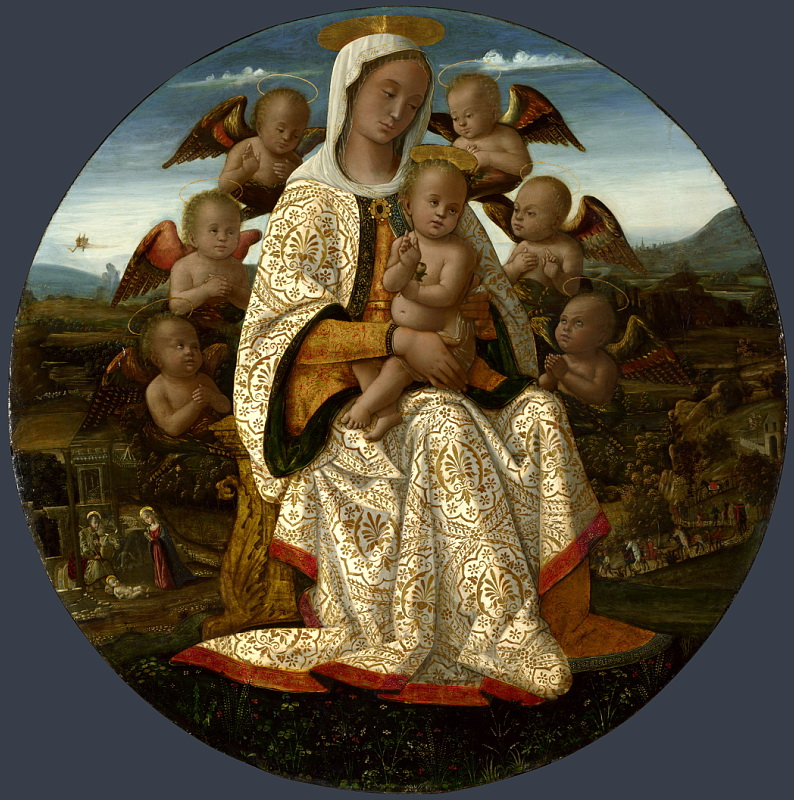 Bernardino Fungai - The Virgin and Child with Cherubim. Национальная галерея, Часть 1