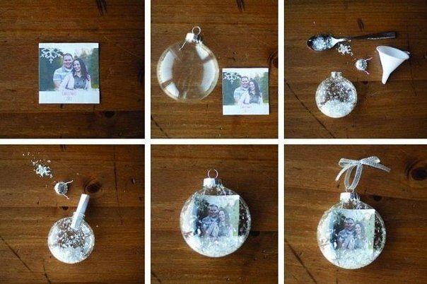 Красивая идея- фотография в новогоднем шаре