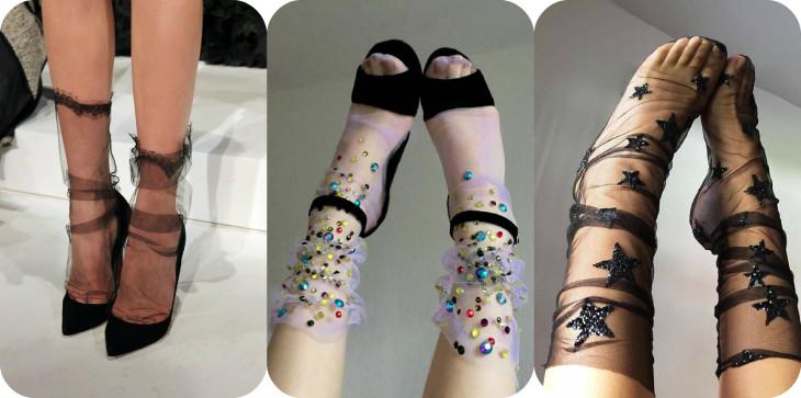 Новый тренд прозрачные носки с узором: как и с чем носить?