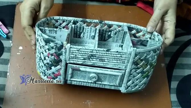 Плетение из газет шкатулки-органайзера. Мастер-класс (1) (670x381, 248Kb)