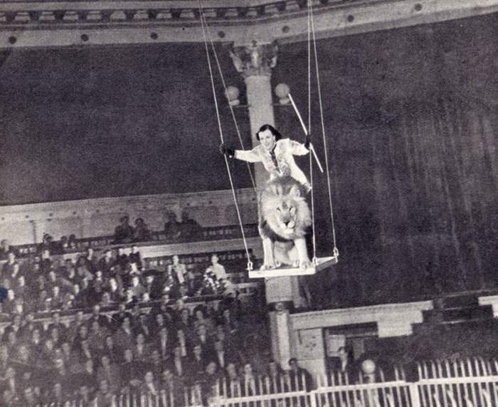 Ирина Бугримова со львом на качелях под куполом цирка | Фото: ruscircus.ru