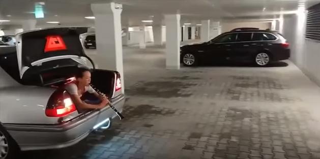 Водитель Мерседеса использовал девушку в качестве парктроника