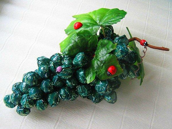 3f5b26d11a24 Гроздь винограда из конфет без пенопластовой основы. Мастер класс